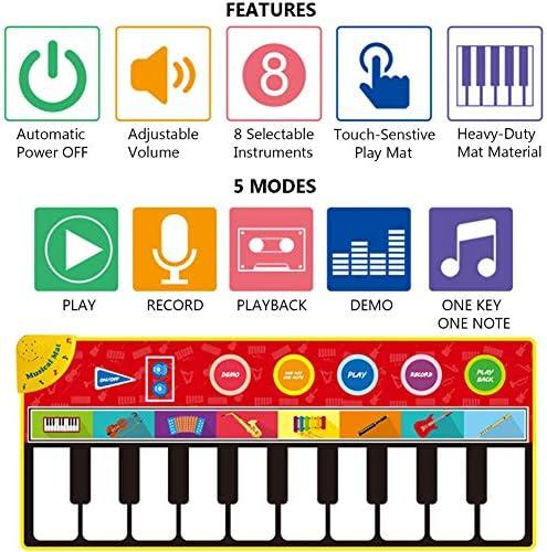 ピアノミュージカルマット、キッズピアノキーボードミュージックダンスプレイマットグッズ、58.2
