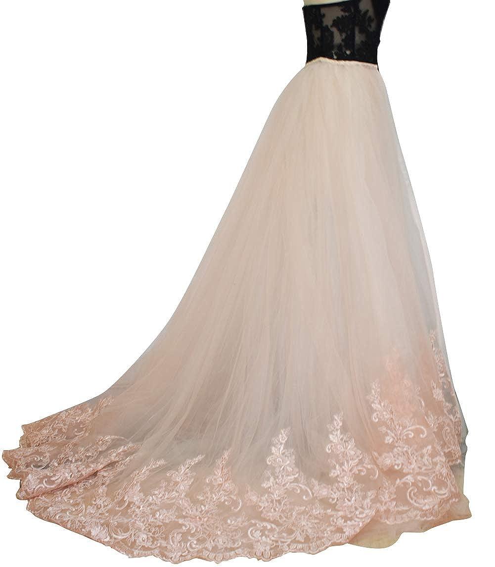 blueshpink Lace flowerry Wedding Bridal Detahable Long Tutu Lace Train Wedding Train Tulle Overskirt Open Front Ivory White Champagne bluesh