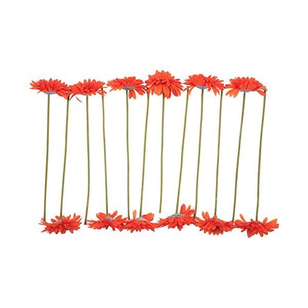 CraftMore Orange Colored Gerbera Daisy Stems 14 Inch Set of 12
