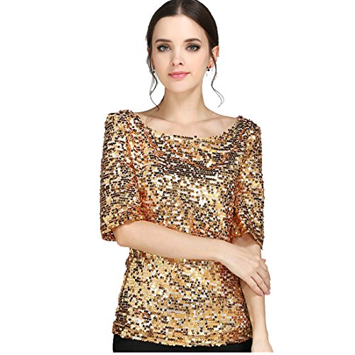 JEYKAY Glistening Sequin Cocktail Club Party Top Shimmer Glam Glitter Plus Size T-Shirt (XXXL, Golden)
