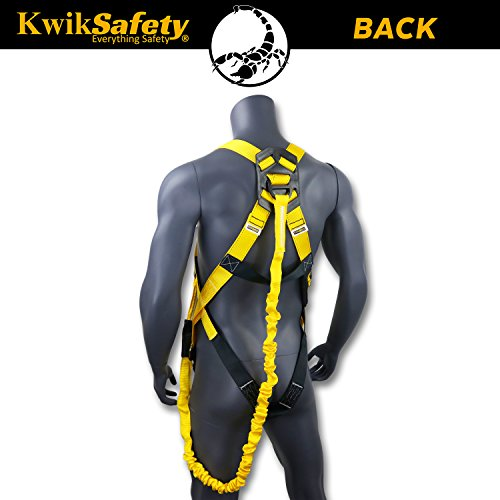 KwikSafety (Charlotte, NC) SCORPION (2 PACK) Safety Harness w/attached 6ft. Tubular Lanyard on back   OSHA ANSI Fall Protection   INTERNAL Shock Absorbing Lanyard   Construction Carpenter Scaffolding by KwikSafety (Image #2)