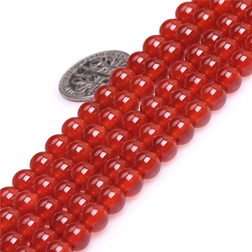 Natural Round Red Agate Gemstone Loose Beads In Bulk One Strand 15