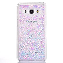 Galaxy Grand Prime Case, GreenDimension Luxury Bling Liquid Quciksand PC Back Infused with Glitter Love Heart Moving Sequins Premium Hybrid Cover For Samsung Galaxy Grand Prime SM-G530 [Blue + Pink]