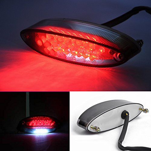 Evomosa Universal 28 LEDs Motorcycle LTZ ATV Tail Light and License Plate Holder with Turn Signals Brake Stop Lights For Suzuki Harley Davidson Honda Kawasaki Triumph BMW DR DRZ 650 400 (Smoke)