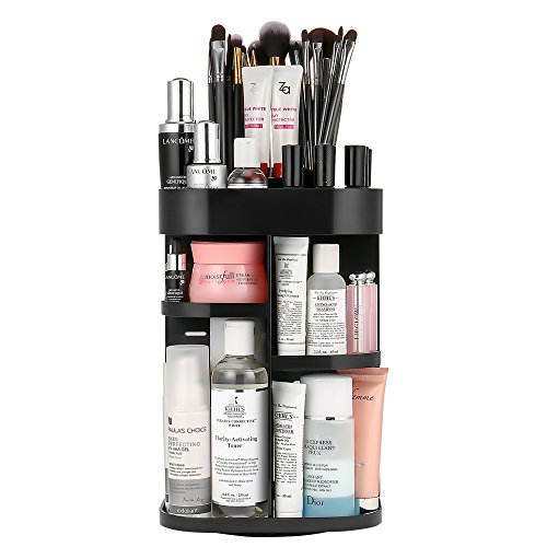 Jerrybox 360-Degree Rotating Makeup Organizer Adjustable Multi-Function Cosmetic Storage
