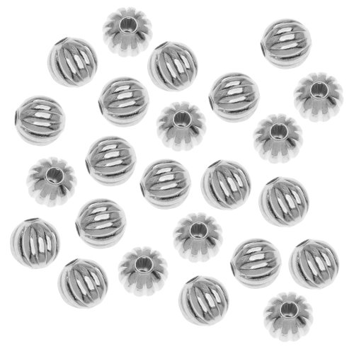 (Fluted Round Metal Beads, 6mm, Silver Plated)