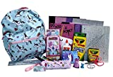 Unicorn Backpack Preassembled with School Supplies – Spiral Notebooks, Folders, Art, Writing, Stickers