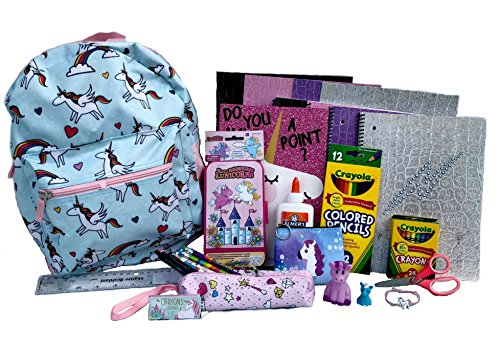 Unicorn Backpack Preassembled with School Supplies – Spiral Notebooks, Folders, Art, Writing, Stickers by Combined Brands