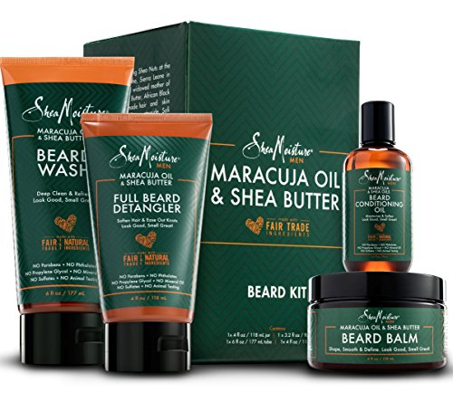 Full Care Kit - Shea Moisture Complete Beard Kit | All Natural Ingredients | Maracuja Oil & Shea Butter | Beard Balm | Beard Conditioning Oil | Beard Wash | Beard Detangler | Gift Box