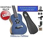 "Kalena Factory Direct Ukulele with instruction book, strap, tuner,strings, felt picks, complete set (24"" Concert Hibiscus, Deepsea Blue)"