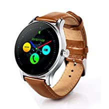 Heart Rate Monitor Smart Watch Bluetooth 4.0, Leelvis Fitness Tracker Water-resistant Sport Pedometer Round Curved IPS Screen Wristwatch for iPone iPad Android Cellphone (Silver + Brown Leather Band)