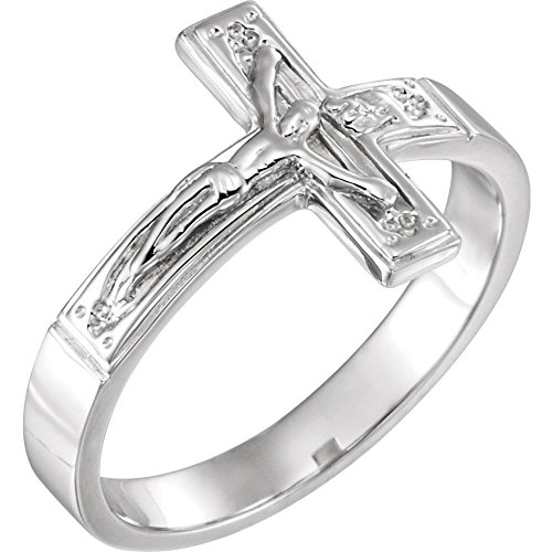 Sterling Silver Size 7 Ladies Polished Crucifix Chastity -