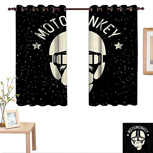 Outer Space Waterproof Window Curtain Sign Alien Monkey