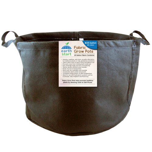 Earth Start 25 Gallon Fabric Grow Pots Soft Container, Black, Pack of 5 by Earth Start