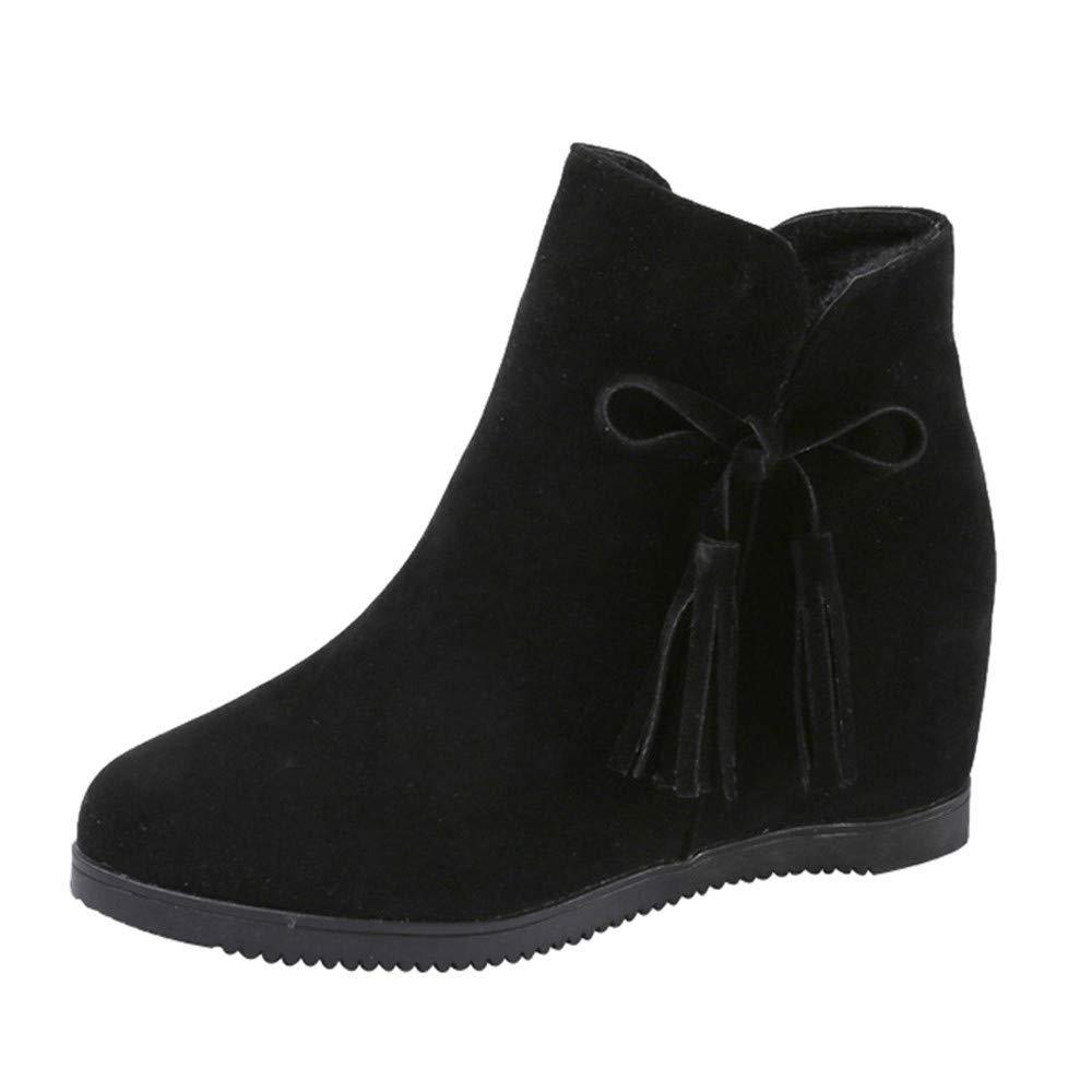 stivali Donna, sonnena stivaletti scarpe parte superiore alta di tallone piatto scarpe Donna autunno inverno piattaforma 38 nero
