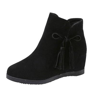 62fa36b50ec Femme Hiver Bottines Chaud Peluche Bottes De Neige Coton Rembourré Talons  CompenséS Chaussures