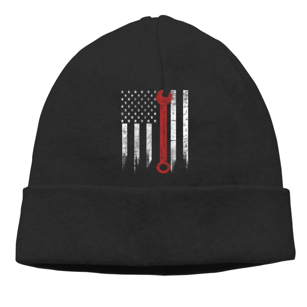 FOECBIR Mechanic USA Flag Thin Beanie Hat Ski Hats Men/&Women Slouchy Soft
