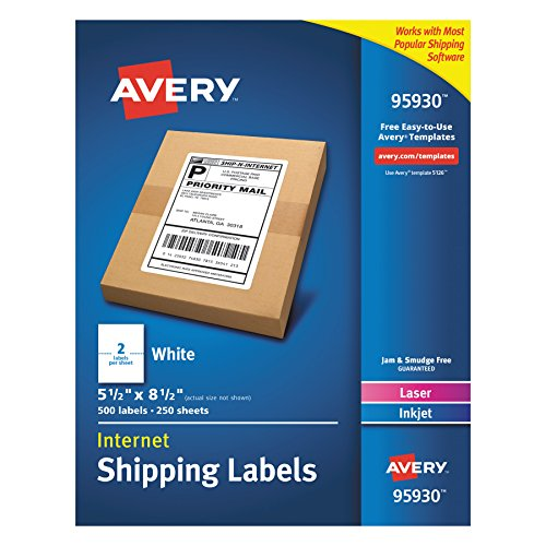 Avery Shipping Address Labels, Laser & Inkjet Printers, 500 Labels, Half Sheet Labels, Permanent Adhesive (95930), White