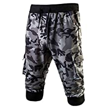 LETSQK Men's Camo Jogger Short Slim Fit Gym Workout Training Capri Trousers