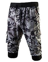 LETSQK Men's Camo Jogger Short Slim Fit Gym Workout Training Capri Trousers