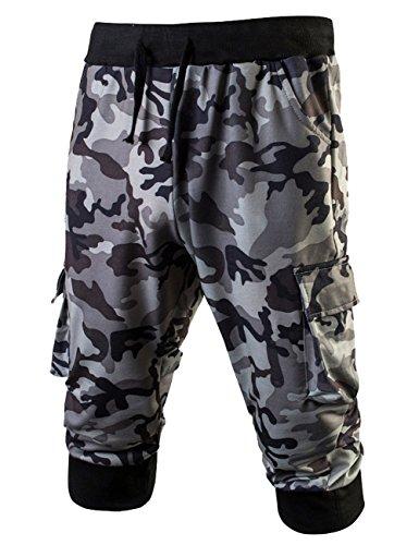 LETSQK Men's Camo Jogger Short Slim Fit Gym Workout Training Capri Trousers White M (Striped Vintage Shorts)