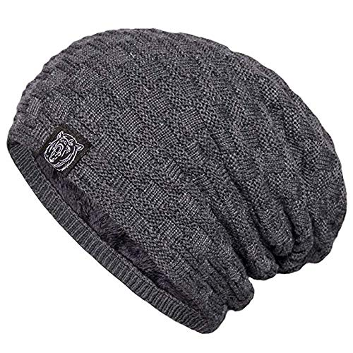 06b3f91854d Image Unavailable. Image not available for. Color  YSense Mens Winter Warm Slouchy  Long Oversized Beanie Baggy Hat Fleece Lined Knit ...