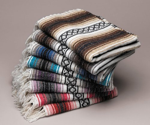Five Large Authentic Mexican Falsa Blanket Throw Yoga Mexico