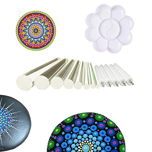 Muhuyi 14 Pieces Mandala Rock Dotting Tools Nail Art Painting Tools Set, Including 8 Sizes Flat Head Acrylic Dotting Rods, 5 Pieces Ball Stylus Dotting Pens, 1 Pieces Paint (6 Plastic Canvas Patterns)