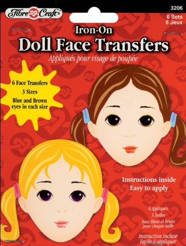 Iron On Crafts - Fibre Craft 6-Pack Iron-On Embroidered Doll Face Transfers