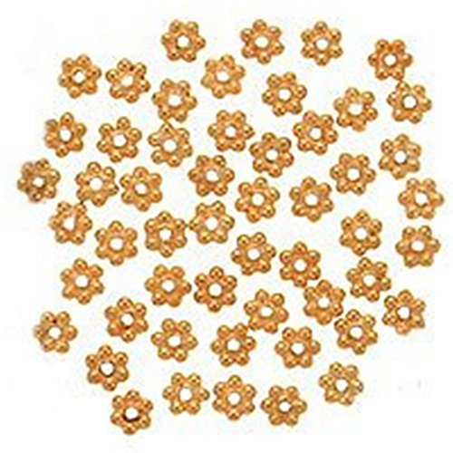 Beautiful Bead 18K Gold Vermeil Bali Silver Daisies 4mm (50pcs) Bali Vermeil Spacer Beads