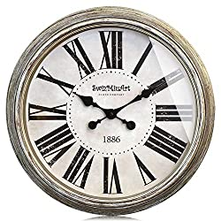 Swizmiuart Basic Wall Clock 30 inches Huge Round Rustic Decorative Retro Metal Hands Non Ticking Battery Operated Silent Antique Vintage Style Big Number Clocks for Living Room Decor Art Plated Gold