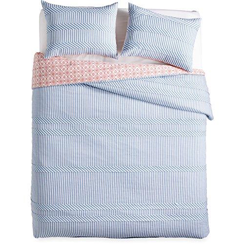 "The Pioneer Woman Duvet Ticking Blue Bedding Full Queen King (Full/Queen 90"" x 94"")"