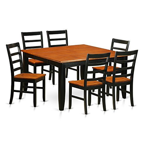 East West Furniture PARF7-BCH-W 7 Piece Dining Table and 6 Solid Wood Chairs Set