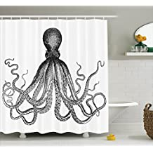 Ambesonne Nautical Decor Collection, Vintage Engraved Illustration of an Octopus Sea Creature Monochrome Art, Polyester Fabric Bathroom Shower Curtain Set with Hooks, 75 Inches Long, Black And White