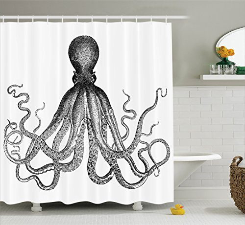 Amazon Ambesonne Nautical Decor Collection Vintage Engraved Illustration Of An Octopus Monochrome Art Polyester Fabric Bathroom Curtain Set With Hooks