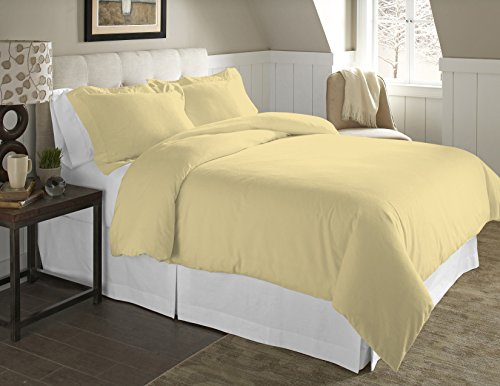 Pointehaven 2-Piece 200 GSM Flannel Duvet Cover Set, Twin/Twin X-Large, Solid, Straw
