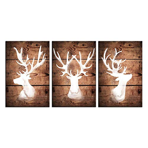 sechars - 3 Pieces Canvas Wall Art North American Wild Animals Deer Silhouettes Picture Prints Large Horns Elk Painting Vintage Home Decor Gallery Wrapped Art Christmas Decorations Gift ()