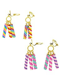 Colorful Marshmallow Candy Clip on Dangle Earrings, Count of 2 Pairs, for teenage Girls Kids Womens