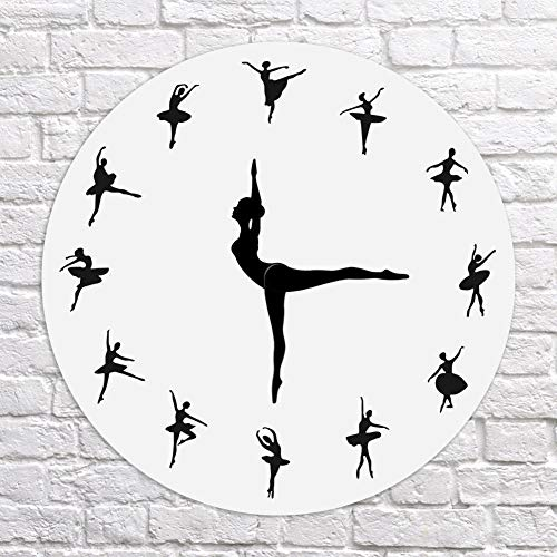 (Ywillink Ballerina Record Wall Clock Ballet Dancing Wall Clock Dancer Home Decor Xmas Gift)