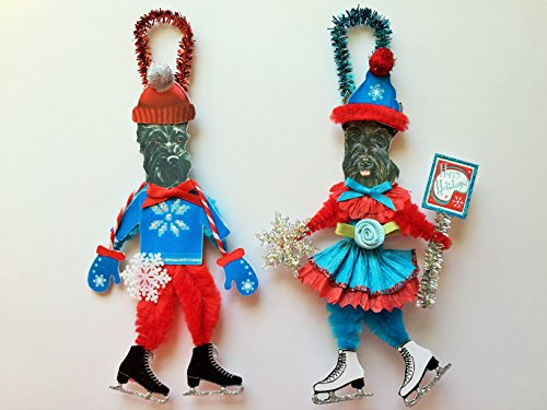 Scottish Terrier ICE SKATER Christmas ornaments holiday dog ornaments vintage style chenille ORNAMENTS set of 2 (Scottish Ornaments Holiday)