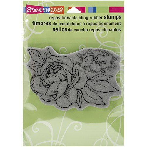 Stampendous Cling Rubber Stamp, Peony Spray (Peony Rubber Stamp)