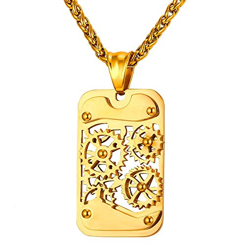 U7 Men Steampunk Jewelry 18K Gold Plated Cool Gear Pendant Dog Tag Necklace, Free Chain 22