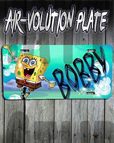 Personalized Airbrush Sponge bob License Plate Tag]()