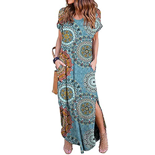 (IMBOAZ Women's Casual Loose Long Dress Short Sleeve Floral Print Maxi Dresses with Pockets)