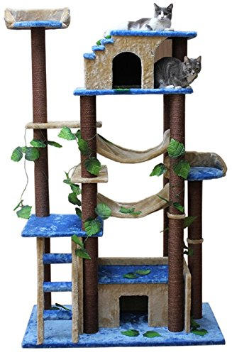 Extra Large Cat Tower Tree Cats Activity Center, Green/Brown