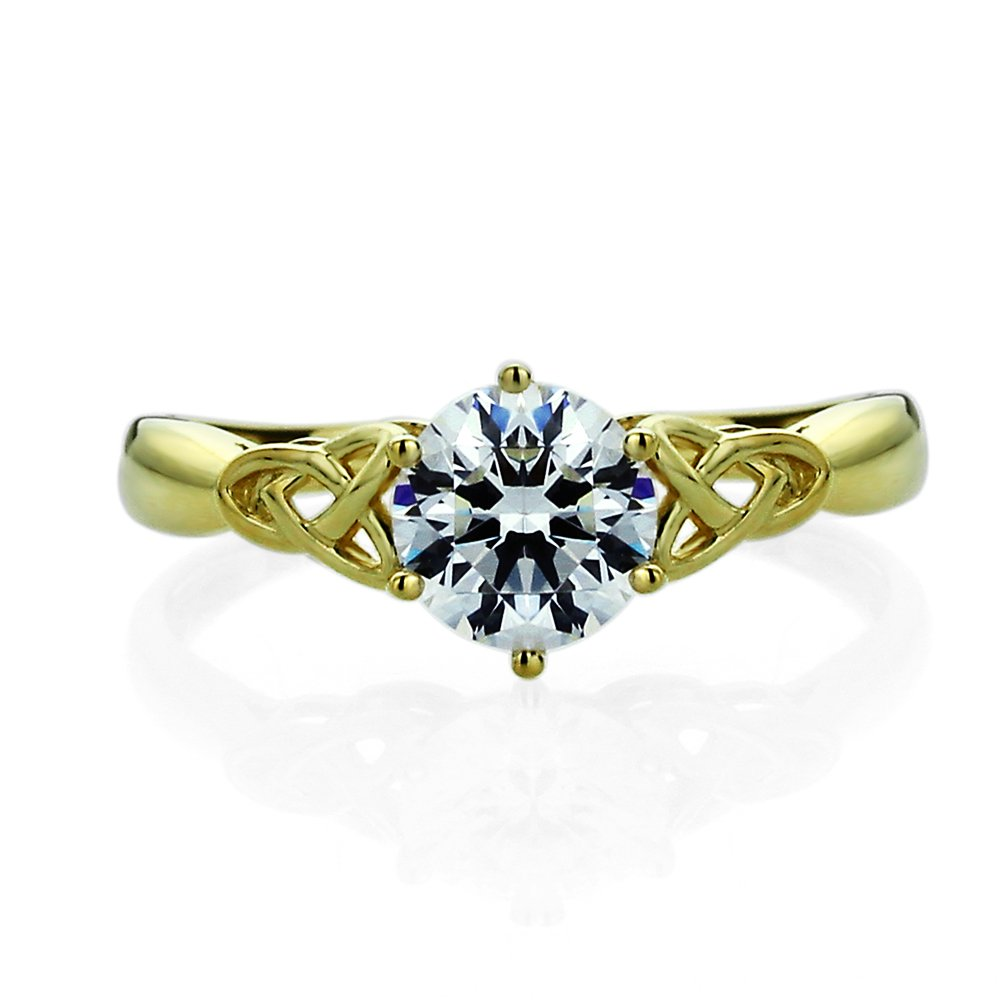 14K Yellow Or White Gold 1.25 Carat Round CZ Celtic Love Knot Wedding Engagement Ring by Double Accent Wedding Collection (Image #3)