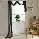 Forart Solid Color Luxurious Voile Sheer Scarf Valance - Soft Sheer Window Panel Scarves Curtains black