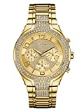 GUESS Women's Stainless Steel Crystal Accented Bracelet Watch, Color: Gold-Tone (Model: U0628L2)