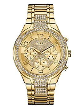 Guess Women's Stainless Steel Crystal Accented Bracelet Watch, Color: Gold-tone (Model: U0628l2) 0