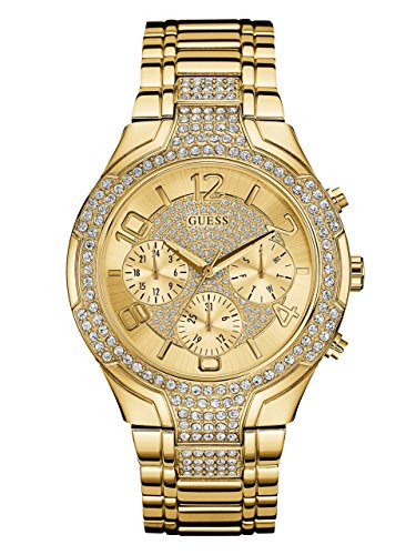 - GUESS  Gold-Tone Stainless Steel Crystal Embellished Bracelet Watch with Day, Date + 24 Hour Military/Int'l Time. Color: Gold-Tone (Model: U0628L2)